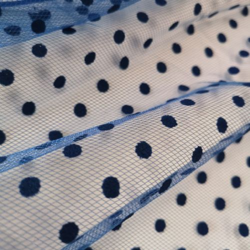 Royal Blue Flocked Dots Tulle 54""